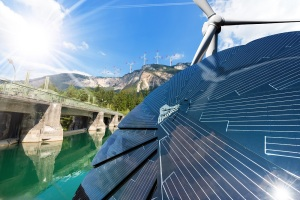 Renewable Energy - Sunlight with solar panel. Wind with wind turbines. Water with dam for hydropower