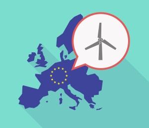 Long shadow EU map with a wind turbine