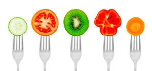 fruits on forks