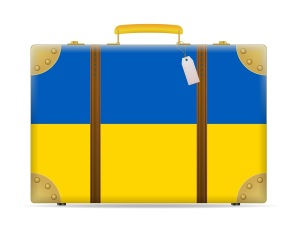 Ukraine flag travel suitcase