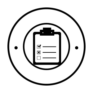 circular border with Table with check sheet vector illustration