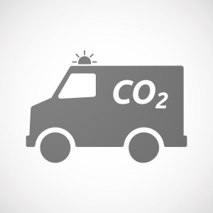 Illustration of an isolated ambulance icon with the text CO2
