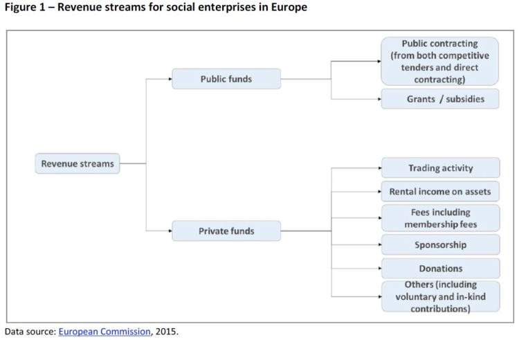 Revenue streams for social enterprises in Europe