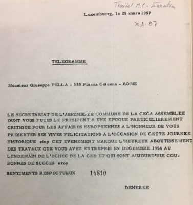 Telegram from secretary general of the Parliamentary assembly Frits de Nérée tot Babberich to Giuseppe Pella
