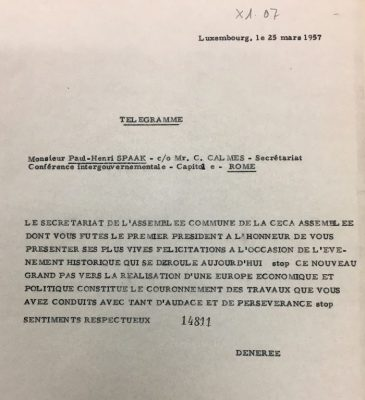 Telegram from secretary general of the Parliamentary assembly Frits de Nérée tot Babberich to Paul-Henri Spaak