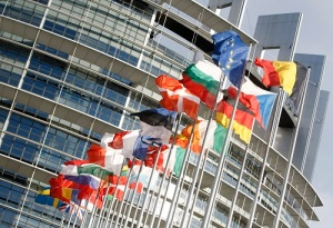 Flags outside the European Parliament building Louise Weiss in Strasbourg - LOW