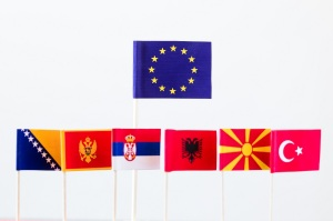 flags of candidates for eu membership, big banner of eu