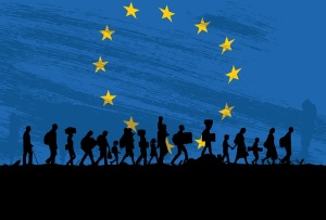 Silhouette of a group of refugees walking with flag of Europe as a background