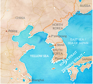 map of north and south Korea