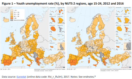 Figure 1 – Youth unemployment rate (%), by NUTS 2 regions, age 15-24, 2012 and 2016