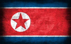 North Korea flag with grunge metal texture
