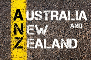 Concept image of Business Acronym ANZ Australia and New Zealand written over road marking yellow paint line