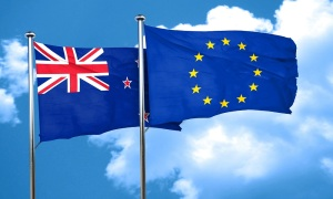 New zealand flag with european union flag, 3D rendering