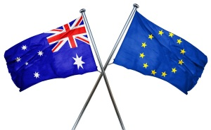 Australia flag combined with european union flag