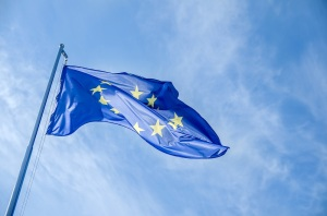 European Flag on a Blue Sky