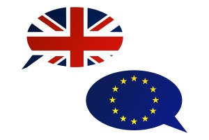 Election or referendum in Great Britain. Conversation dialogue bubbles between European Union and United Kingdom.