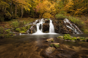 Dokuzak waterfall in Strandja mountain, Bulgaria during autumn