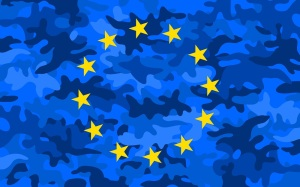 European Union Army - yellow stars and blue camouflage field as metaphor of EU and military integration - alliance of allies to protect of defense Europe
