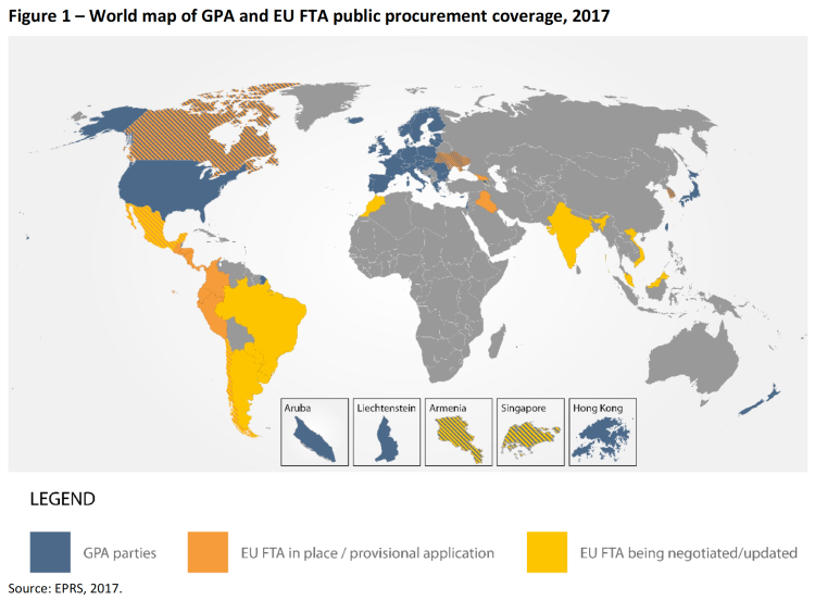 world map of GPA and EU FTA public procurement coverage 2017