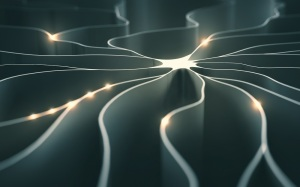 3D illustration, concept of artificial neuron with electrical pulses.