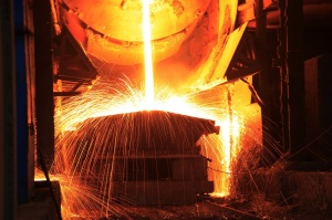 Steelmaking workshop,sparks fly, very beautiful