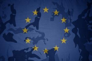 flag of european union on the khaki texture background. military concept