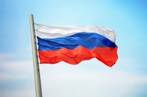 Flag of Russia against the background of the sky