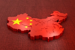 A volumetric map of China on the flag. 3d rendering.
