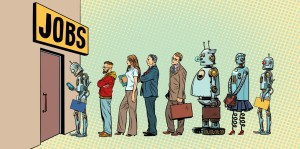 competition of people and robots for jobs. technological revolution. Unemployment in the digital world