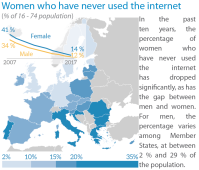 Women who have never used the internet