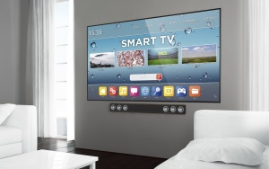 Big screen smart tv at living room. 3d rendering.
