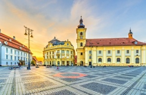 Sunset in center of Sibiu, Transylvania region, Romania.