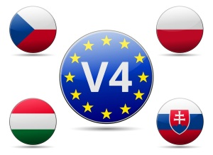 V4 Visegrad group summit - Czech republic, Poland, Slovakia, Hungary flag with reflection and shadow - Middle European country