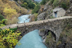 Traditional stone bridge in Epirus, Greece