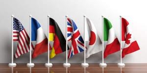 G7 - G8 miniature flags on white background. 3d illustration