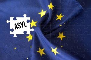 Flagge der Europäischen Union EU, Puzzle und das Asyl