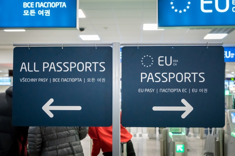 Passport control entrance area for EU and other passport holders at Prague Airport, Czech Republic.