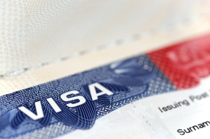 close up on USA visa on the passport