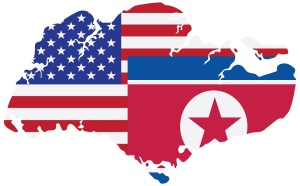 North Korea USA 2018 Summit Flags in Singapore Map Outline Color Illustration