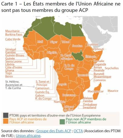 Les États membres de l'Union Africaine ne sont pas tous membres du groupe ACP