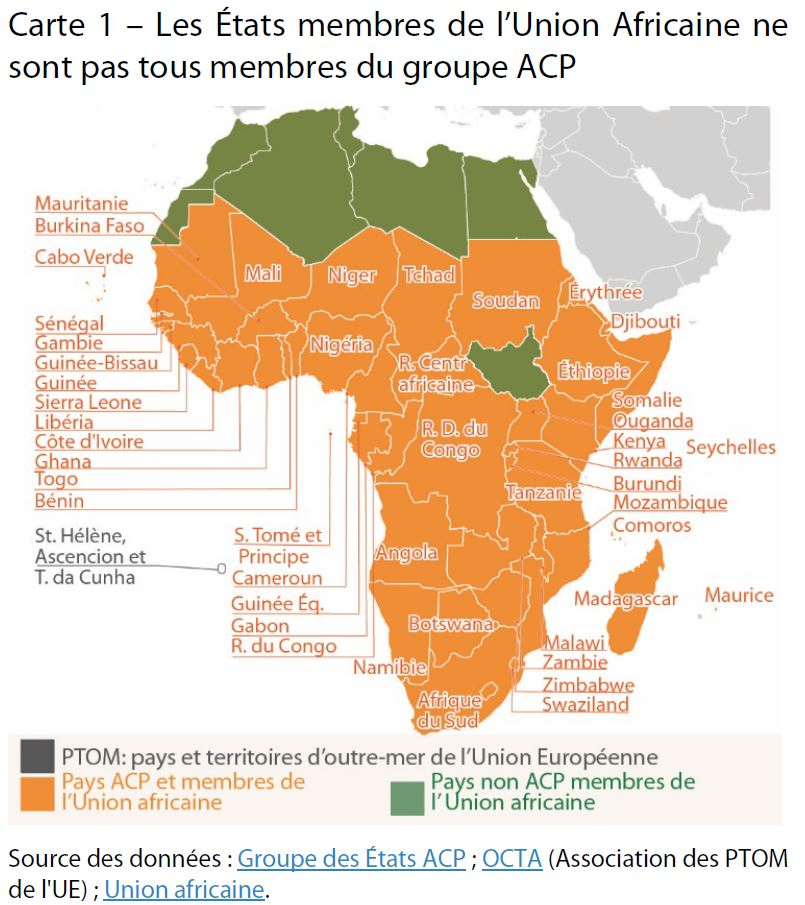 Carte Union Africaine.Membres De L Union Africaine Pas Tous Membres Du Groupe Acp