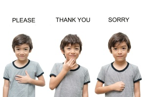 Please thank you sorry kid hand sign language on white backgroun