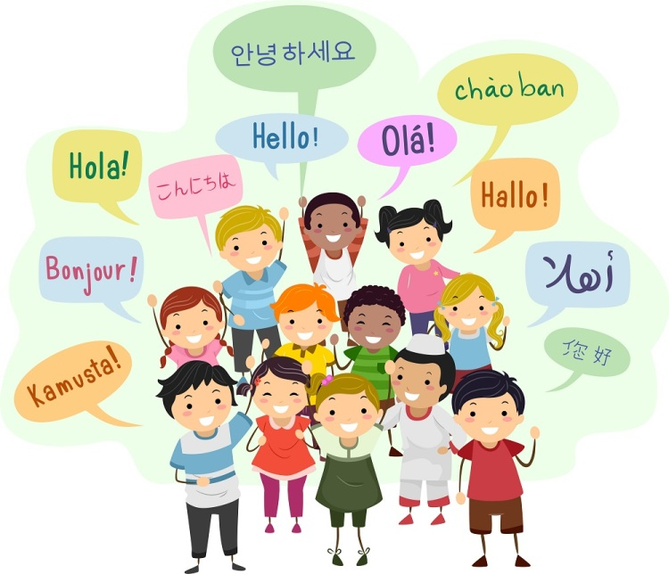 Illustration of Stickman Kids and Speech Bubbles Saying Hello in Different Languages