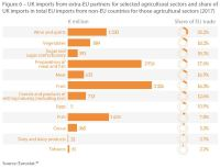 Figure 6 – UK imports from extra-EU partners for selected agricultural sectors and share of UK imports in total EU imports from non-EU countries for those agricultural sectors (2017)