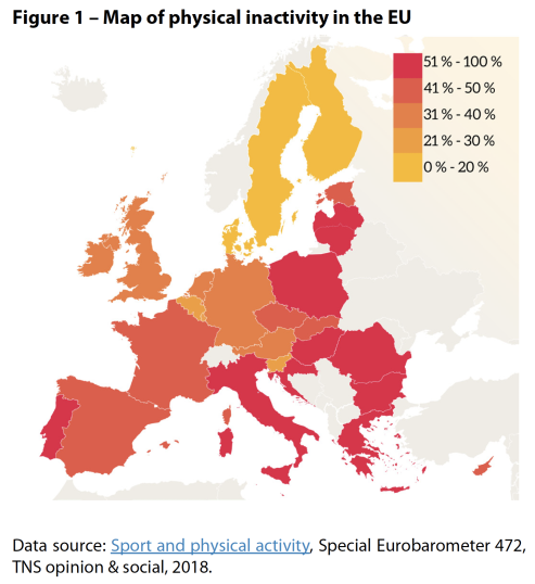 Map of physical inactivity in the EU