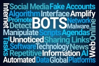 Bots Word Cloud on Blue Background