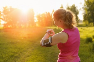 Watch for sports with smartwatch. Jogging training for marathon