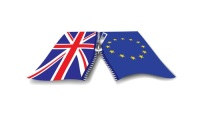 Vector image UK and EU flags partly zipped together - Brexit
