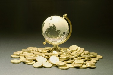 Crystal Globe and Coins on Seamless Background