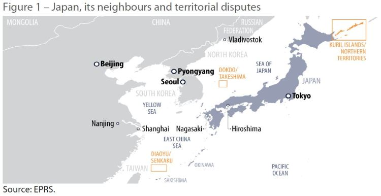 Figure 1 – Japan, its neighbours and territorial disputes